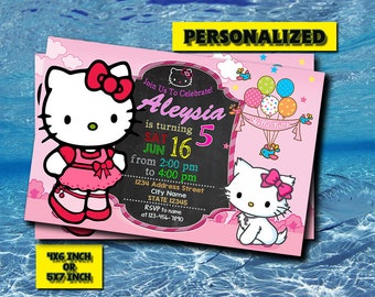 Hello Kitty Invitation,Hello Kitty Birthday Invitation,Hello Kitty Birthday,Hello Kitty Party,Hello Kitty Printable,Digital Download