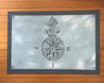 24 x 34 Dark Gray on Blue Compass Rose Floor Cloth