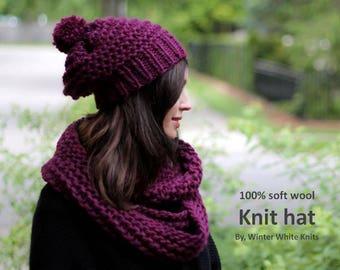 Wool knit hat, Deep berry hat, Knit beanie hat, soft wool hat, slouchy pom pom hat, knitted wool hat
