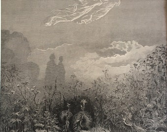Dante Alighieri and his Purgatory and Paradise etching