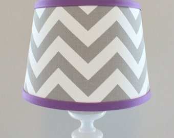 Chevron lamp shade etsy small white gray chevron lamp shade with accent violet mozeypictures Images