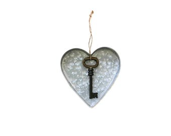 Heart and Key Ornament / large key decor . Rustic Wedding Decor . heart ornament . tin heart . key and heart . galvanized metal heart