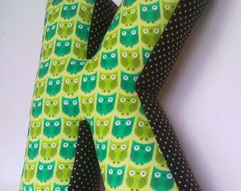 Baby shower gift - Personalized cushion - Green letter pillow K - Kids room decor - Baby name - Nursery decor - Alphabet pillow - Owl pillow