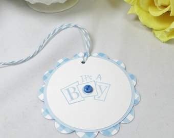 10 Baby Tags - Gift Tags - Boy Baby Shower Favor Tags - Thank You Tags - Blue Baby Boy - It's a Boy - New Baby Boy Bag Tags - Boy Baby Tag