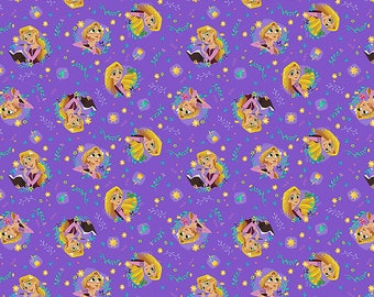 Disney Fabric Rapunzel Fabric Rapunzel Toss in Purple From Springs Creative 100% Cotton
