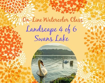 On-Line Watercolor Class-How to Package and Critique Of Landscape (4 of 6) Swans Lake-Watercolors-Instruction-Painting Lessons