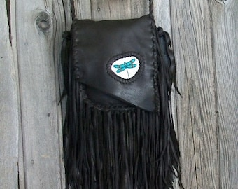 Fringed leather handbag with dragonfly totem , Fringed crossbody handbag