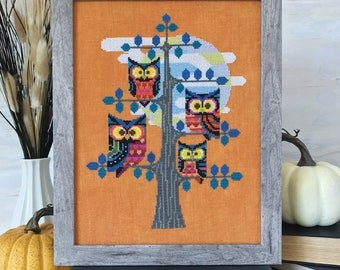 Whooo's There? - Satsuma Street - Halloween Owls - cross stitch pattern - Instant download PDF