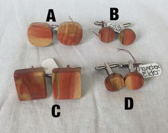 Flame box elder cufflinks