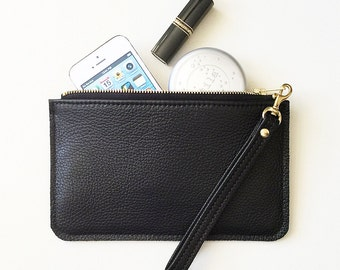 Black Leather Clutch, Leather Wristlet, iPhone Zip Wallet, iPhone Wristlet, Cell Phone Clutch, Leather Zipper Pouch, Minimal Leather Wallet