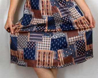 Vintage Homemade Paisley Patchwork print Skirt
