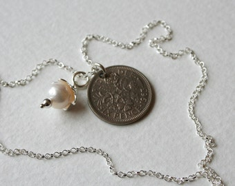 Lucky Sixpence Pearl Silver Charm Necklace 1963 Brides or Bridesmaids