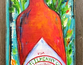 TABASCO PAINTING on Salvaged Wood ** Original Painting by Paige DeBell on Architectural Salvage from New Orleans