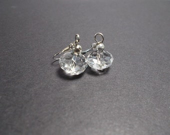 Synthetic clear crystal Pearl dangle earrings