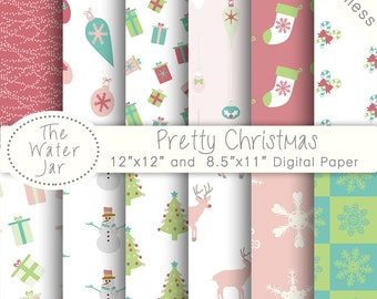 Pretty Christmas, SEAMLESS Digital Paper Pack, x-mas Holidays Instant download paper pack, babys first christmas, Printable Nursery decor