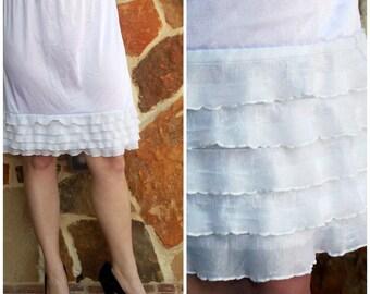 WHITE Dress Extender Slip Tiered Ruffle