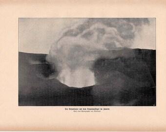 1900 volcano eruption original antique lithograph print