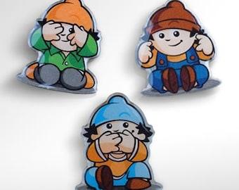 3 pins - hear no evil see no evil speak no evil - three gnomes like the three monkeys - vintage collectible pins