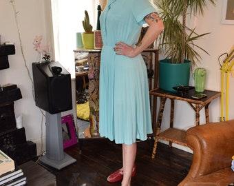 Vintage 1960s Torquiose Blue Pleat  Dress sz 14 Equivalent UK