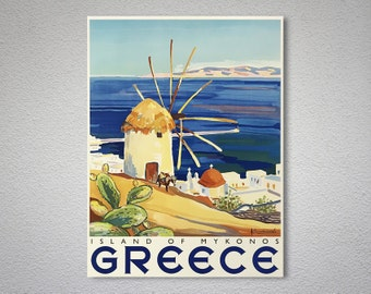 Greece  Island of Mykonos  Vintage Travel Poster, Canvas Giclee Print / Gift Idea