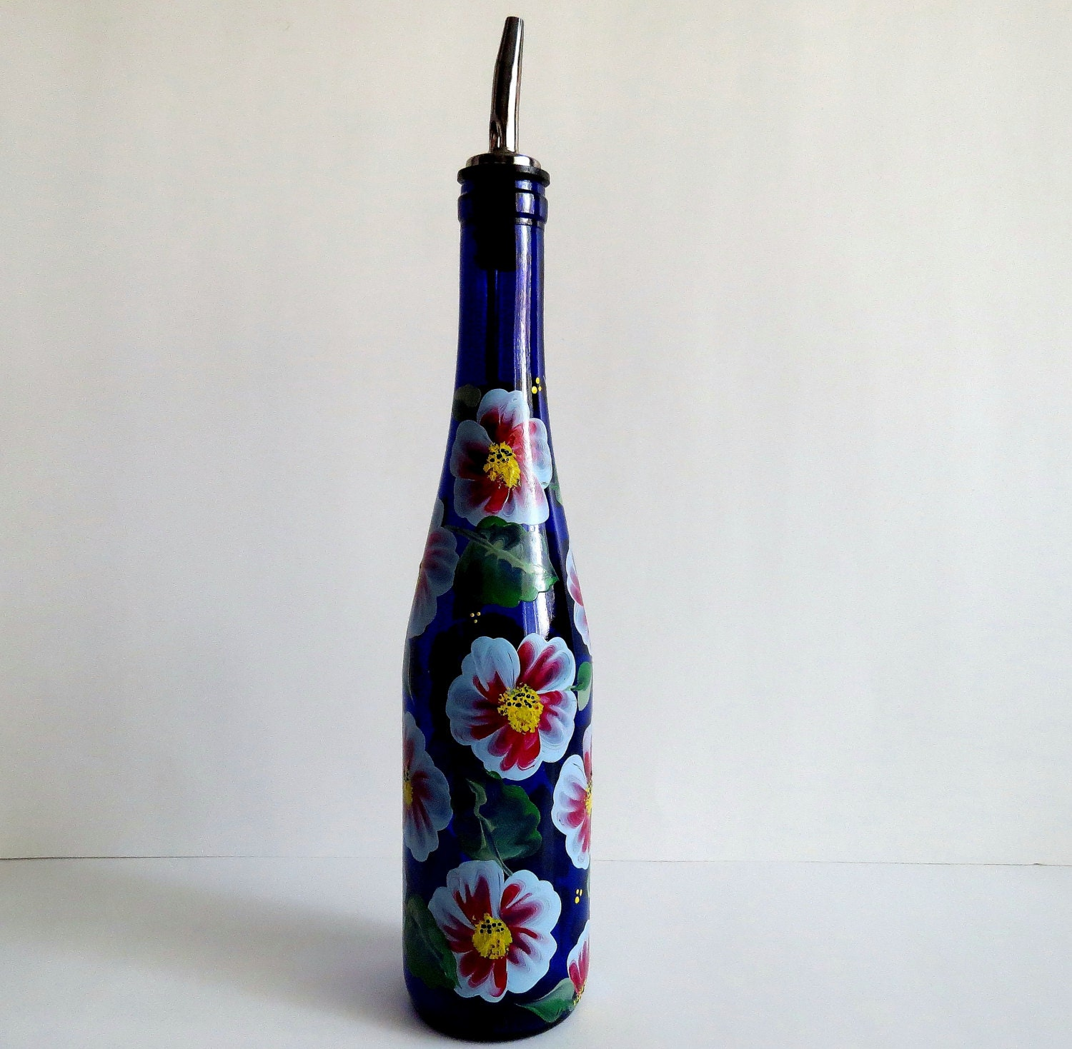 Recycled Wine bottle Oil dispenser Olive oil Cobalt blue glass