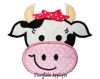 Digital Machine Embroidery Design - Sassy Cow Applique