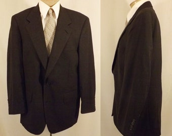 Vintage 80's Burberry's Black Check Wool Sport Coat Size 38 / 40