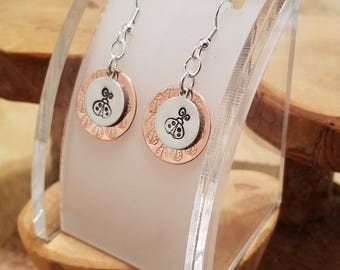 Ladybug Lady Bug hand stamped mixed metal copper and aluminum textured layered french hook earrings