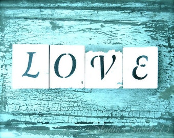"Love Art Print, Shabby Cottage Word Art, Romantic Rustic Turquoise, Weathered Aqua Farmhouse Decor, Girls Room Wall Decor - ""Shabby Love"""