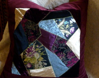 Crazy quilt pillow.  OOAK in rich fabrics, colors and textures.