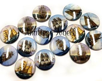 """Ships, 1"""", Button, Ship Button, Ship Pin, Ship Decor, Ship Theme, Old Ship, Ship Flatback, Nautical, Ship Sail, Ocean Scene, Antique Ship"""