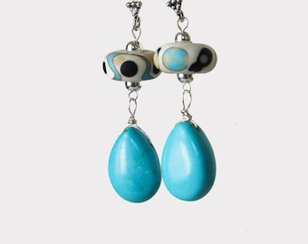 Turquoise and Lampwork Silver Earrngs Turquoise Blue Drop Sterling Earrings  Turquoise Boho Silver Earrings