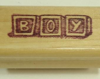 Boy Blocks Wood Mounted Rubber Stamp