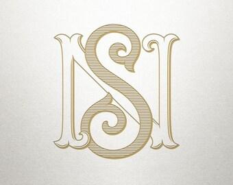 Vintage Digital Monogram - NS SN - Digital Monogram - Custom