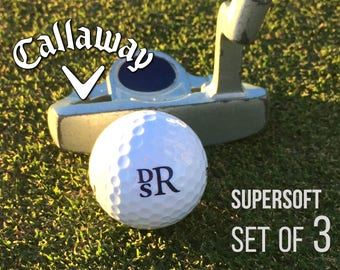 Personalized Golf Balls, Callaway Supersoft, Set of 3 Monogrammed Golf Balls, Gift for Dad - Father's Day Gift - Gift for Golfer