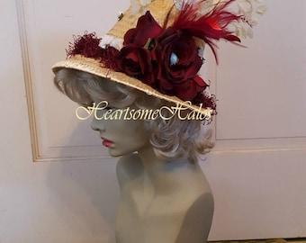 Jane Austen Regency costume hat  ivory burgundy roses bonnet straw crochet unique stage reproduction