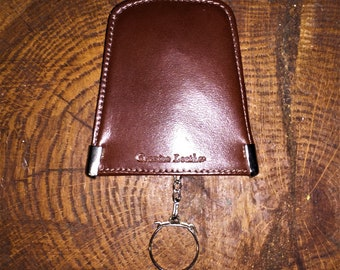 VINTAGE SNAP CASE Brown Leather Key Ring