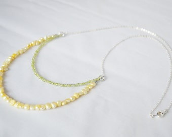 Peridot & Gold Pearl Multistrand Necklace