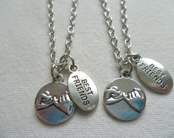 Pinky promise necklace set,best friends necklaces,pinky swear,set of 2,friendship silver necklace,gift,pendant,silver,partners