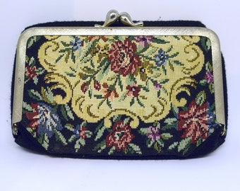Vintage 60s Black Floral Tapestry Deep Mirrored Change Purse Card Holder