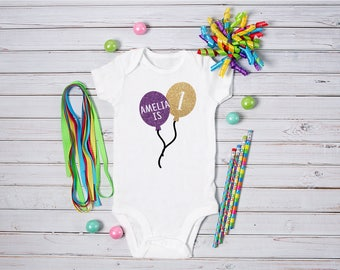 Personalised Baby BOY or GIRL 1st Birthday Bodysuit / Babygrow / Vest / Balloon / Photo Op / First / Cake Smash with Name