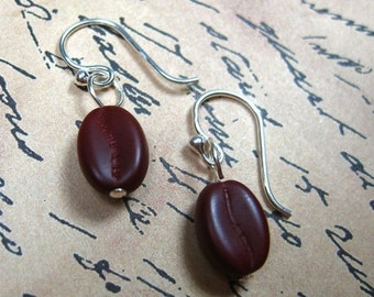 Java earrings - little glass coffee beans on sterling silver ear wires -Free Shipping USA
