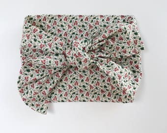 Cotton Cream with Mini Burgundy and Hunter Green Flowers and Leaves Headwrap/Headband - One Size Fits All