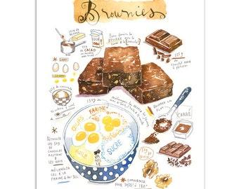 Brownies recipe print, Bakery art print, Watercolor print, Kitchen wall art, Chocolate cake painting, Food poster, Home decor, Bakery decor