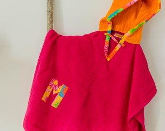 Hooded Towel Poncho, Personalized, in Bright Pink & Orange. Boy or Girl print (your choice). Bath Towel. Beach towel.