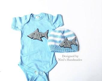 Shark  Baby Boy Bodysuit and Hat set, Shark bodysuit, baby boy Shark apparel, baby clothing, nautical baby, Shark  baby shower gift, sharks