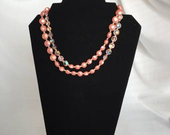 Vintage, Bubble Gum Pink, Faux Pink Pearl and Aurora Borealis Beaded Necklace/ Long