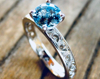 Aquamarine Engagement Ring in Platinum with Floral Scroll Pattern Size 5
