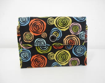 Womens Wallet, Black Flap Wallet, Fabric Wallet with Pockets and ID Pocket