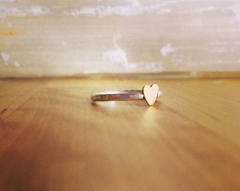 OH SWEETHEART Sterling ring with tiny bronze heart